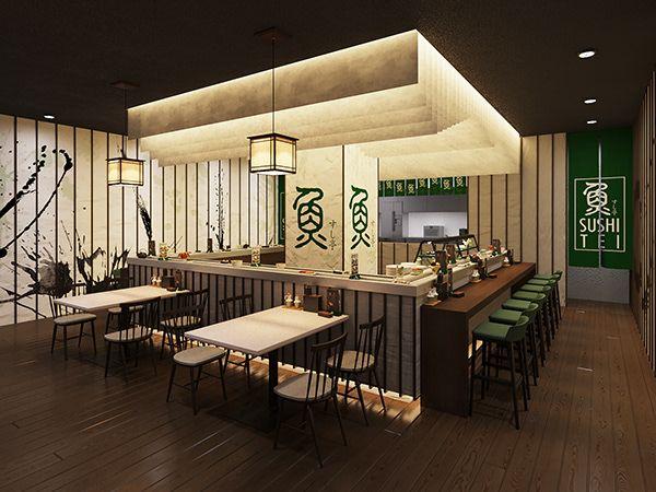 Sushi Tei Restaurant On Behance Restaurant Layout Sushi Restaurants Buffet Style Restaurants