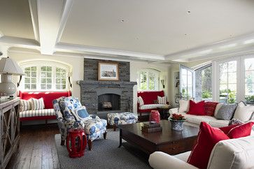 Evolution of Style: Red, White and Blue - Homes that Inspire...love this family room....so cute
