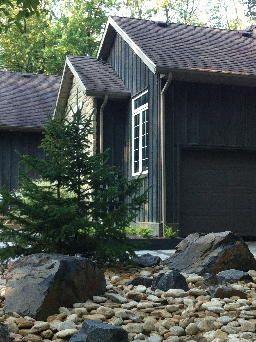 Rustic Modern Farmhouse. Stone, boulders, plants. Completed by Leaf Garden Design Inc.  | brigden Rd