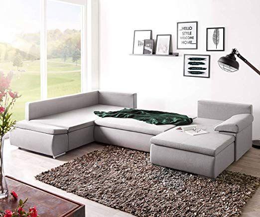 Affiliatelink Delife Couch Abilene Grau 330x230 Cm Ottomane