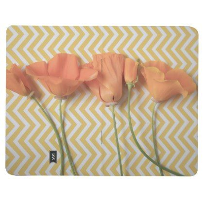 Orange California poppies on chevron background Journal - floral gifts flower flowers gift ideas