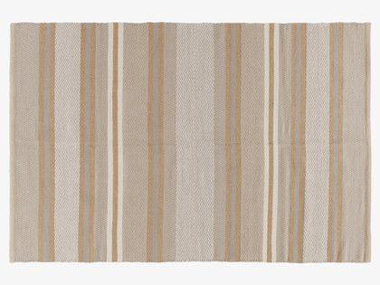 NEWBURY NEUTRAL Jute Small grey/neutral striped rug 120 x 180cm - HabitatUK