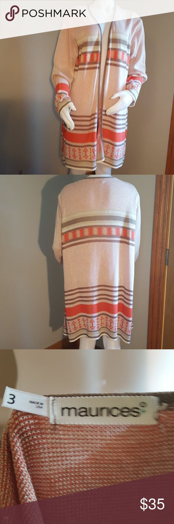 Maurices cardigan Tribal design cardigan, knee length, but light in weight. Maurices Sweaters Shrugs & Ponchos