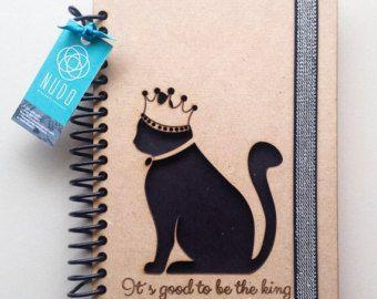 Cuaderno de gato negro, gato negro, negro diario, diario de cat, bordado Notebook, amantes de gatos, la, lindo gato, planificador de gato, planificador, furry