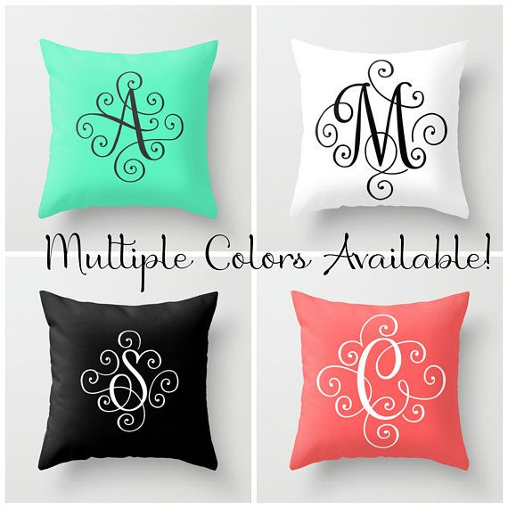 Monogram Pillow Cover, Initial Pillow Covers 18 x 18, Throw Pillows Blue Home Decor Modern Monogram, Teen Girl Room Decor, Family Name