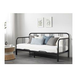 IKEA - FYRESDAL, Daybed with 2 mattresses, black/Meistervik firm, , Two functions in one - sofa in the day and bed at night.Get all-over support and comfort with a resilient foam mattress.