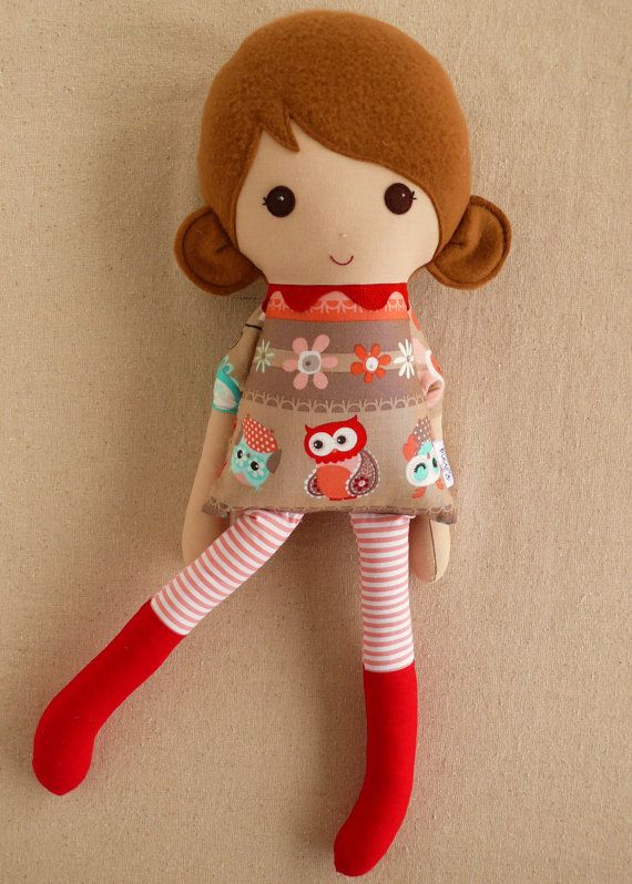 Fabric Doll Rag Doll Brown Haired Girl in Owl Print by rovingovine, $34.00