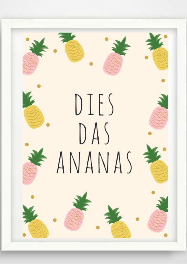 """Dies Das Ananas"" Poster als A4 Print mit süßen Illustrationen / artprint with pineapple illustration and black typo made by Pap-Seligkeiten via DaWanda.com"