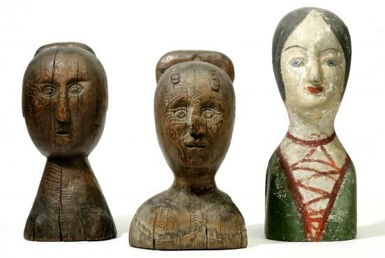 Unidentified makers, Milliners' heads, Mid-19th century. Carved wood, papier-mâché. New-York Historical Society. Oh I wish I owned these!