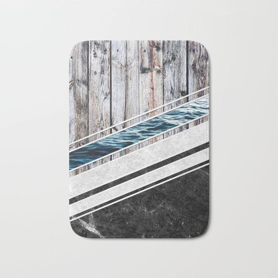 Striped Materials of Nature I Bath Mat #wood #wooden #marble #stone #sea #ocean #stripe #stripes #striped #nature #texture #bathmat #bathroom #homedecor