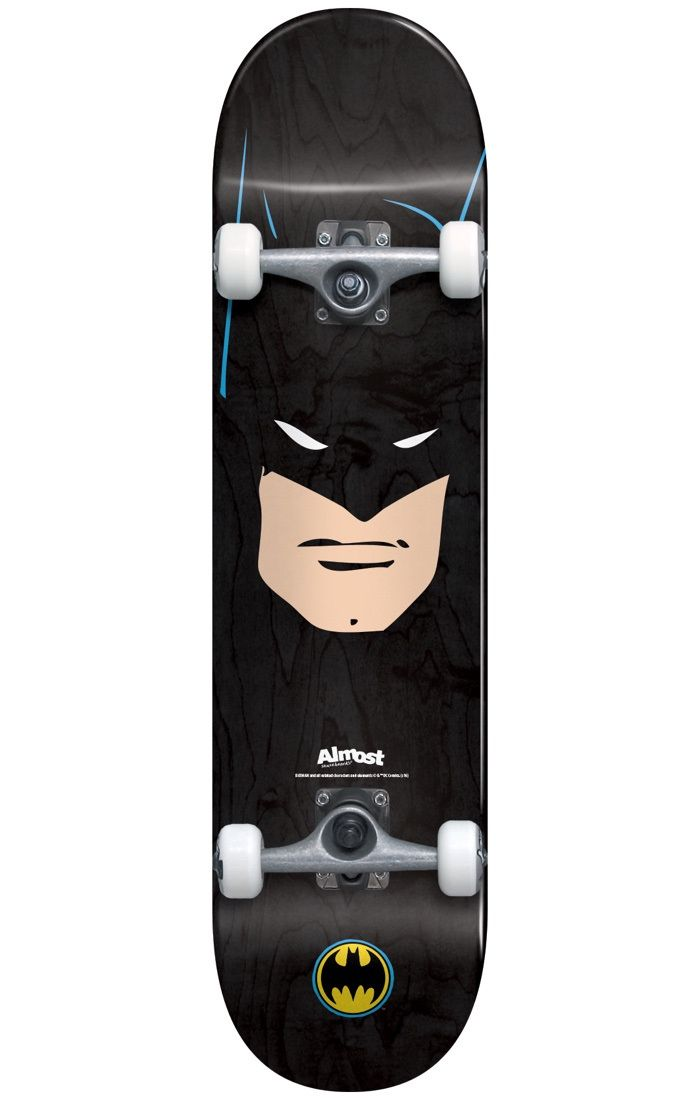 #Almost Skateboards Almost Batman Face Complete Skateboard - 7.75` #Features:Length: 31.1Width: 7.75Wheelbase: 13.88Wheels: 52mm, 99aBatman Face graphic throughoutMaterials:Construction: Resin-7 Canadian MapleAlmost and DC have joined forces to defend justice from the forces of evil but they need your help! With their new skateboard range and their solid construction, your mad tricks might be just what they need! Pick up your weapon of choice and get to skating! The multiverse depends on…