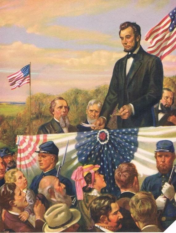 Lincoln at Gettysburgh Calendar Art by RedfordRetro on Etsy, $15.00Abraham Lincoln, Gettysburgh Calendar