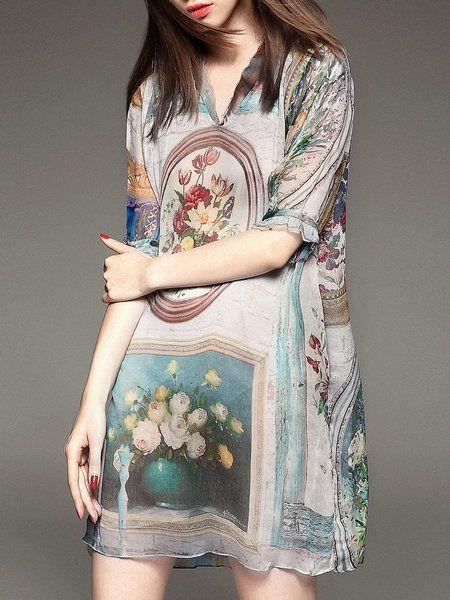 Shop Mini Dresses - Beige Silk Floral Half Sleeve Mini Dress online. Discover unique designers fashion at StyleWe.com.