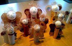 Weihnachten alt/basteln-Engel-Wattekugeln-Papierrollen