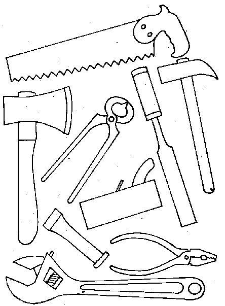 gereedschap kleurplaat... uitknippen en zelf een gereedschapskoffertje knutselen voor vaderdag