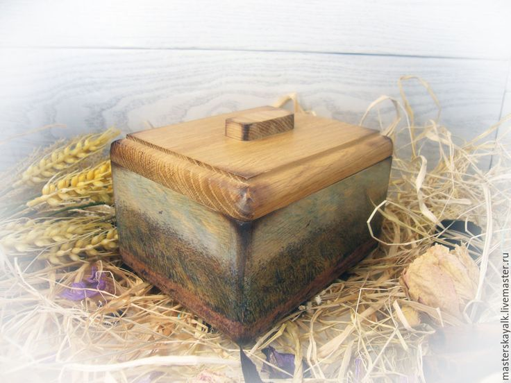 """Купить Короб-шкатулка """"Пшеничные поля Ван Гога"""" - разноцветный, дуб, дубовый, шкатулка"""