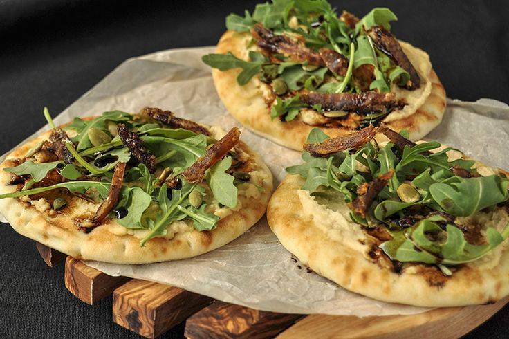 Paleo Arugula and Hummus Mini Pizzas