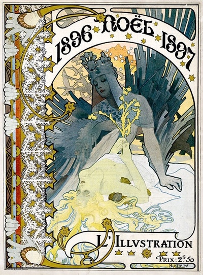 Chistmas cover for 1896 issue of L'illustration, by Alphonse Mucha.