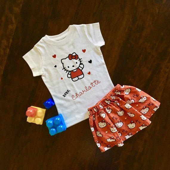 Hello Kitty Birthday Shirt, hello kitty outfit, hello kitty party, cat, hello kitty shirt, hello kitty skirt, birthday party, toddler