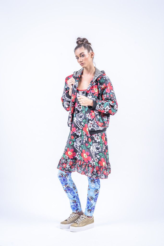 Romani Design, ss17, wanderers of the worlds, roma, gypsy, stripes, striped, floral, print, rose, roses, fashion, flower, flowers, outfit, spring, summer, tunic, ruffle, ruffles, leggings, hoodie, bomber, wheel