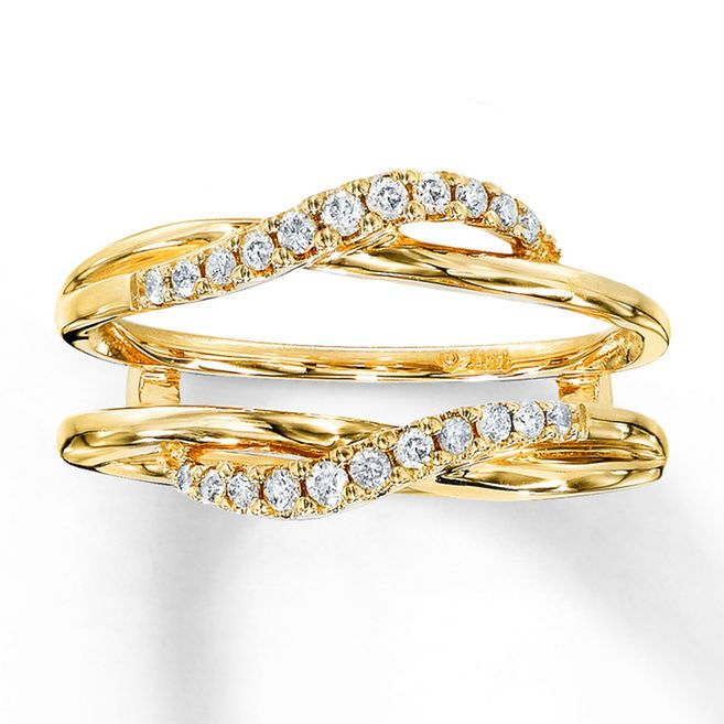 the perfect partner for your diamond solitaire ring this diamond enhancer ring fashioned with carat total weight of diamonds is set in yellow gold - Wedding Ring Enhancer
