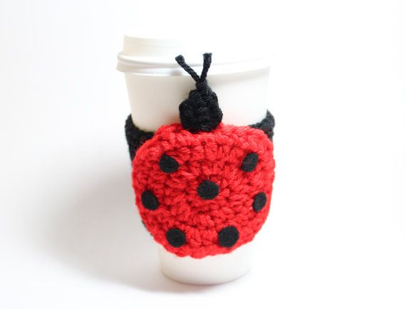 Ladybug cup sleeve, animal coffee cozy, red and black crochet cozy, ChristmasInJuly Sale 20% off via Etsy