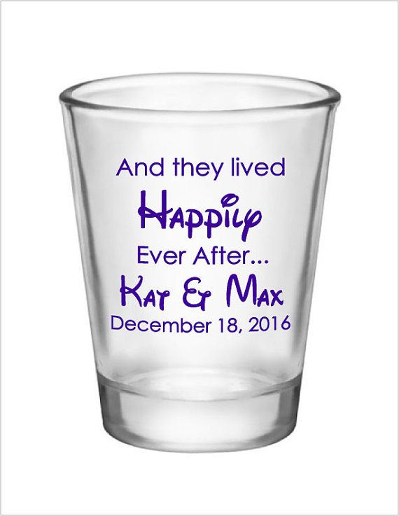 And they lived Happily Ever After Disney Wedding Favor Shot Glasses by Factory21