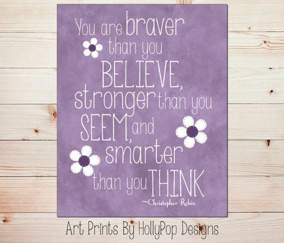 You are Braver than You Believe-Purple Wall Art-Toddler Girls Room-Baby Girl Nursery-Purple Print-Inspirational Wall Decor-Winnie Pooh-#0774...
