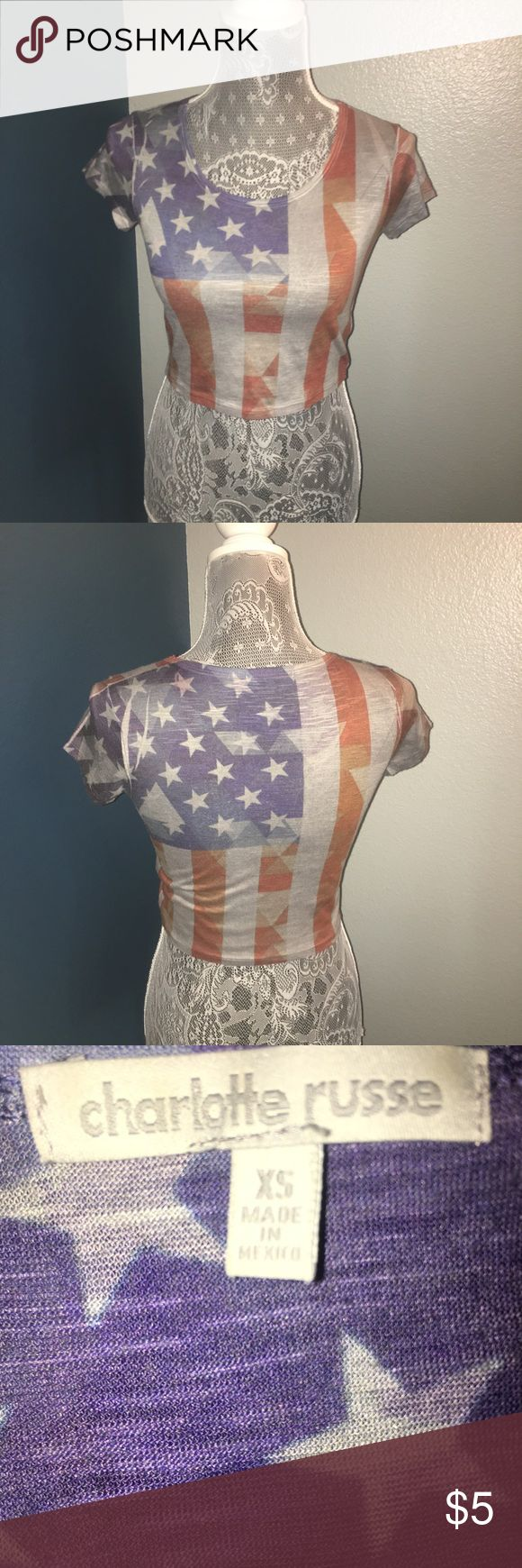 American Flag Crop Top XS American Flag Crop Top XS Charolette Russe Distressed Flag 4th of July / Independence Day Short Sleeve Crop Top Made in Mexico Charlotte Russe Tops Crop Tops
