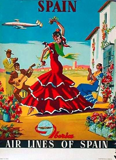 Spain and Iberia Air Lines vintage travel poster with a Flamenco Dancer