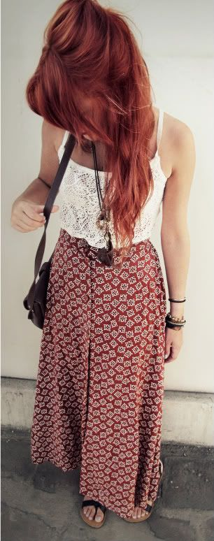 Vintage maxi skirt, lace tank, feather necklace. Boho summer.
