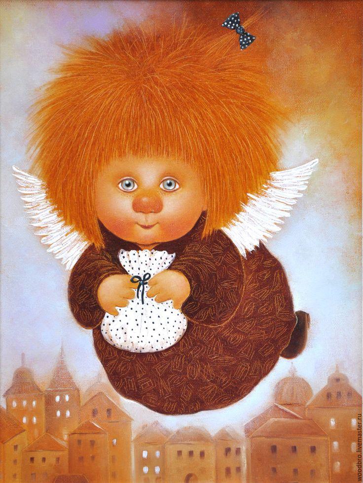 Купить Лечу к тебе, картина маслом - лечу к тебе, картина маслом, ангелочек, ангел