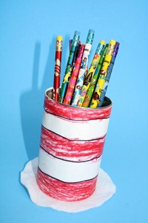 Cat in the Hat pencil holder - from a recycled can. Dr. Seuss #craft by @obSEUSSed