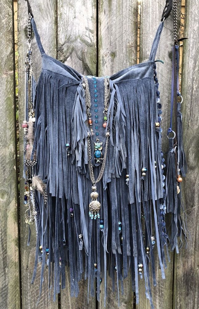 Handmade Blue/gray Suede Fringe Bag Up-cycled Mix Jewelry Gypsy Boho Purse B.Joy  | eBay