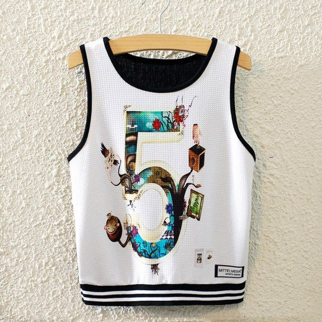 2016 New Fashion Styles Crop Tops Sexy Women Camisole Crop Top Funny Emoji / Stitch Cartoon Harajuku Punk Tank Tops Famous Brand