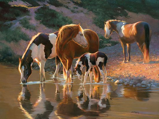 Pinto horses drinking - Night Cap - horse painting by Bonnie Marris