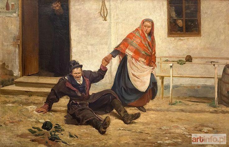 Wincenty WODZINOWSKI ● Baba ciągnąca pijanego męża ●