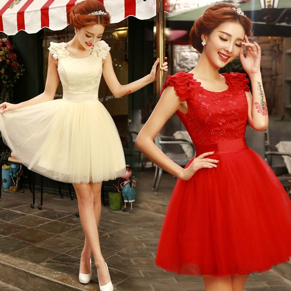 2016 de encaje de dama de honor vestidos cortos fit chica joven partido junior vestido de boda del color rojo champagne negro encaje hasta fuera del hombro(China (Mainland))