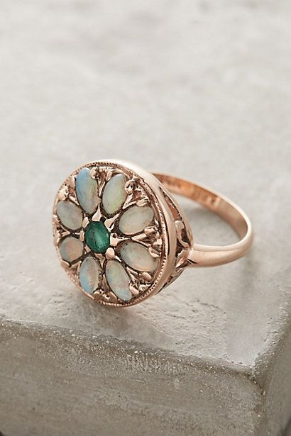 Emerald and Opal Round Mandala Ring in 14k Rose Gold #anthropologie