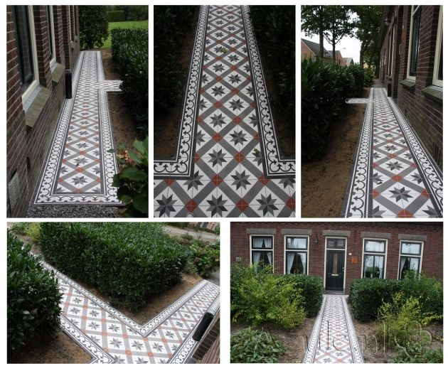 Cementtiles outside - negra 24 - Border 01 + Corner -  Project van Designtegels.nl