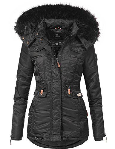Navahoo Damen Winter-Jacke Winter-Mantel Steppmantel Schätzchen (vegan  hergestellt) Schwarz Gr. S 330801a5d9