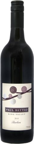 2010 Paul Bettio Barbera from Victoria's King Valley. barbera is a great everyday drinking red variety from Central and Northern Italy. Great with simple Italian food, Pizza, Pasta or just a platter of salami.