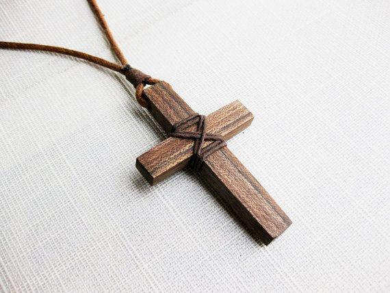 Walnut wood cross necklace wooden cross by NatureArtJewellery
