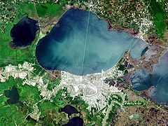 Lake Pontchartrain is a brackish estuary located in southeastern Louisiana. It is the second-largest inland saltwater body of water in the United States, after the Great Salt Lake in Utah, and the largest lake in Louisiana. As an estuary, Pontchartrain is not a true lake.