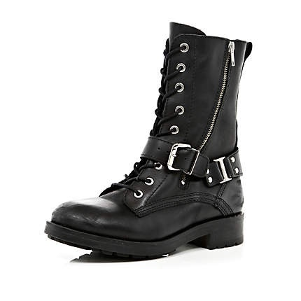 black biker boots - ankle boots - shoes / boots - women - River Island