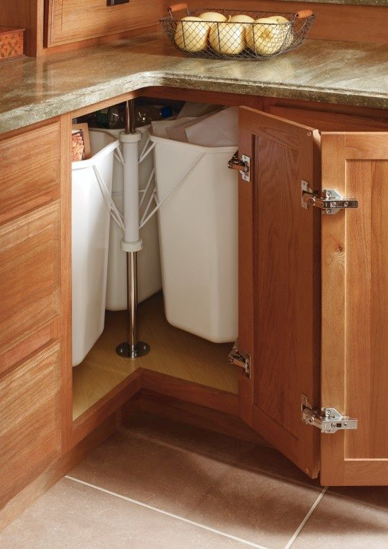 corner cabinet - perfect for recycling #organize #kitchen