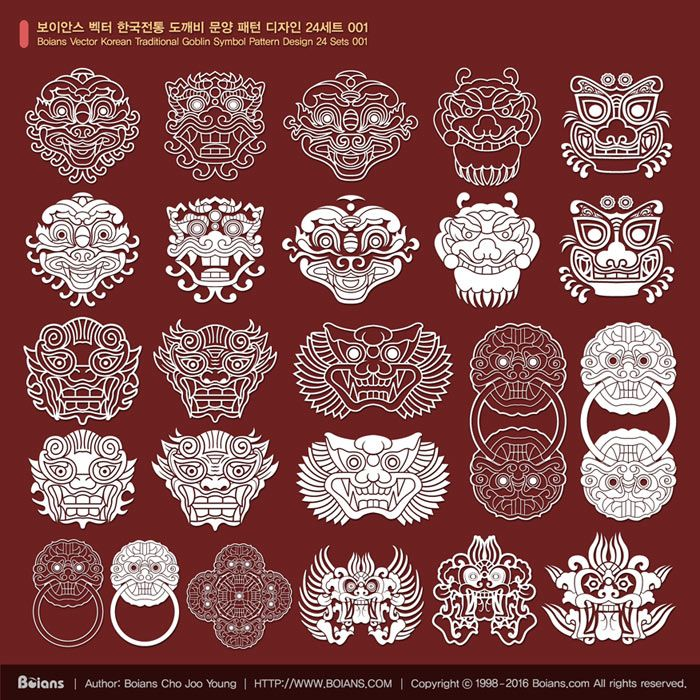 1 name boians vector korean traditional goblin symbol pattern design 24 sets 001 2 format ai. Black Bedroom Furniture Sets. Home Design Ideas