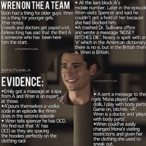 DR. WREN KINGSTON IS A . We saw his note pad ( AGAIN ) I know some people will say that it's beacause of spencer's addiction to pills that wren 's note pad was in spencer's purse, but I don't think so. I think Producer gives us clues saying remember Wren.. the mysterious doctor... He's hidding something #PLL