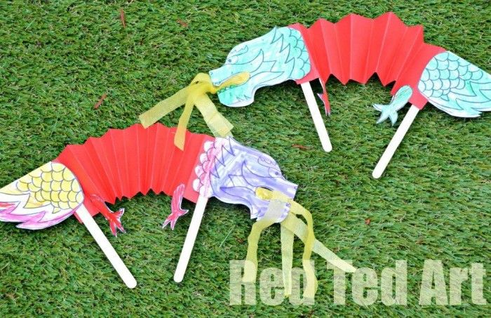 Chinese New Year Crafts for Kids - Dragon Puppets