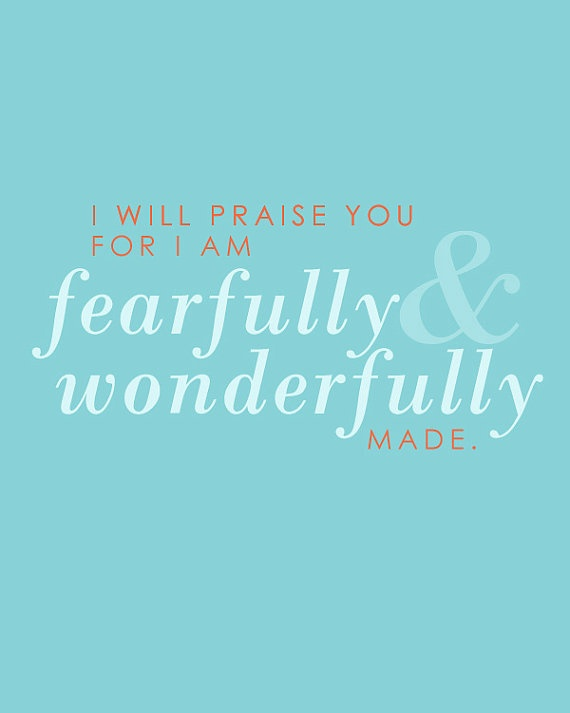 "Psalm  139 ""I am Fearfully and Wonderfully made"" 8x10 Nursery Print by LemonsThatArePink, $10"